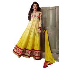 Cream and Yellow Georgette Party Wear #Anarkali #Churidar With Dupatta #SalwarKameez #Dress #Fashion