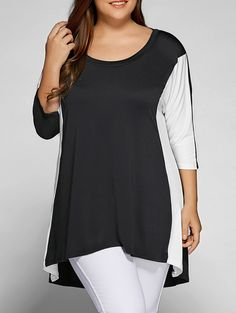 Plus Size Color Block Longline T-Shirt in White And Black | Sammydress.com