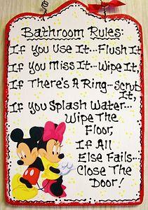 7x11 MICKEY MOUSE U0026 MINNIE MOUSE Bathroom Rules SIGN Bath Plaque Disney  Decor