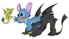Stitch and Toothless by Kitchiki on DeviantArt Dreamworks Dragons, Dreamworks Animation, Disney And Dreamworks, Toothless And Stitch, Fanart, Lilo And Stitch, Disney Stitch, Dragon Pictures, Wings Of Fire