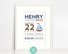 Modern Typography Birth Print by TMCreativePrints on Etsy