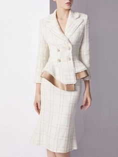Stylewe Elegant Work Set For Women White Knitted Buttoned Outfits Elegant Midi Dresses, Casual Dresses, Fashion Dresses, Wrap Dresses, Mode Chanel, Popular Outfits, Tweed Jacket, Coat Dress, Jumpsuits For Women