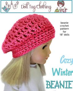 FREE Beanie Crochet pattern for beginners from Doll Tag Clothing for American Girl Dolls - LIKE the PixieFaire Facebook page to download - https://www.facebook.com/PixieFaire