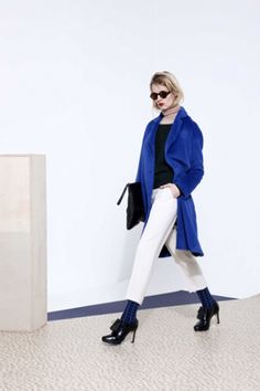 Rue Blanche fw13, blue, short trousers, black clutch
