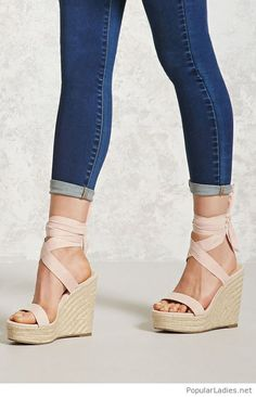 Nude sandals with blue jeans
