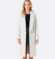 Kaelyn textured long cardi coat Cream And Black - Womens Fashion | Forever New