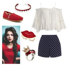 """Accessory Red"" by cometgirlfresh on Polyvore featuring Simons, Sans Souci, Zizzi, TOMS, Thalia Sodi and Disney"
