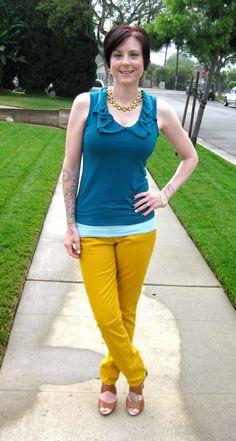Yellow + aqua #outfit