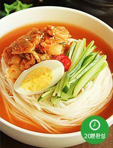 Delicious, Korean spicy cold noodle soup
