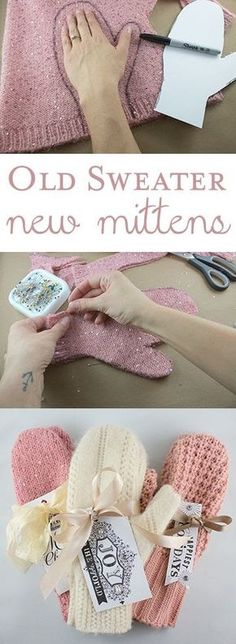 DIY Christmas Gifts – My Honeys Place DIY Sweater Mittens Christmas Gift. Take an old sweater and make new mittens. Fabric Crafts, Sewing Crafts, Alter Pullover, Diy Pullover, Pullover Upcycling, Sweater Mittens, Old Sweater Diy, Baby Mittens, Fingerless Mittens