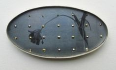 Bettina Speckner.Brooch 2003  Photo etching on Zinc; Silver; Markasite