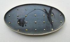 Bettina Speckner.Brooch 2003  Photo etching on Zinc; Silver; Markasite