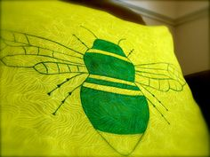 Summer chic hand painted insect cushion pillow by RainsEmporium, £12.99