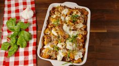 Cauliflower Baked Ziti  - Delish.com Cheesy Cauliflower Bake, Cauliflower Dishes, Cauliflower Gratin, Cauliflower Casserole, Low Carb Recipes, Beef Recipes, Gluten Free Recipes, Healthy Recipes, Cooking Recipes
