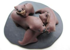 OOAK Otter Family Miniature British by EarthAndAirJewellery