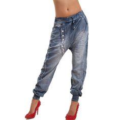 Toocool - Jeans donna pantaloni harem cavallo basso turca elastico polsini sexy nuovi Y063 [S,blu]