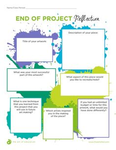 High school art projects - End of Project Reflection (The Art of Education) – High school art projects High School Art Projects, Art School, Art Education Projects, Art Education Lessons, Physical Education, Art Rubric, Writing Rubrics, Paragraph Writing, Opinion Writing