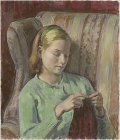 Girl Knitting (Portrait of Felicia, the Artist's younger Daughter) / Henry LAMB / 1949