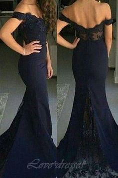 Lace Mermaid Prom Dresses 2016 Off-the-Shoulder Dark Navy Elegant Long Bridesmaid Dresses S474