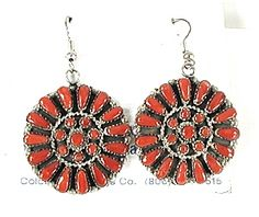 Marcine Stead Zuni NOS Coral Cluster Wire earrings E526
