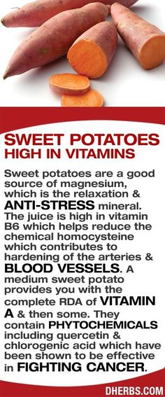 Sweet potatoes are high in vitamins and are a good source of magnesium, which is the relaxation & anti-stress mineral. The juice is high in vitamin B6 which helps reduce the chemical homocysteine which contributes to hardening of the arteries & blood vessels. A medium sweet potato provides you with the complete RDA of vitamin A & then some. They contain phytochemicals including quercetin & chlorogenic acid which have been shown to be effective in fighting cancer. #dherbs #healthtips by…