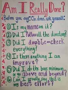 Anchor Chart for reminders before students turn in work. {image only}