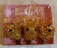 TWO'S COMPANY GOLDTONE JEWELED BIRDS - SET OF 3 CLIP ON ORNAMENTS