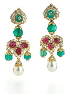 David Webb Emerald, Ruby, Pearl and Diamond Earrings Available at David Webb