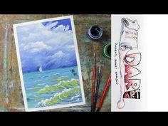 Как нарисовать морской пейзаж с парусником гуашью! #Dari_Art - YouTube