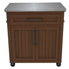 BellO Madeleine Kitchen Cart with Stainless Steel Top Embossing Oak