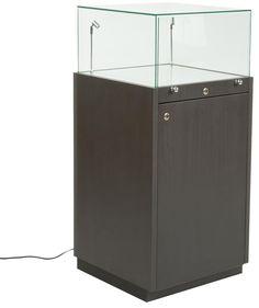 Sale: $1093 - 20x20x42H - Pedestal Case w/Locking Cabinet Base, Frameless Glass Top, LED Lights - Black