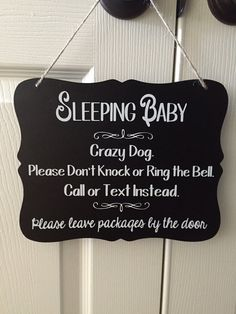 Attractive BABY SLEEPING sign- Do NOT Ring the Bell sign or No Soliciting. Perfect housewarming gift or gift for new parents