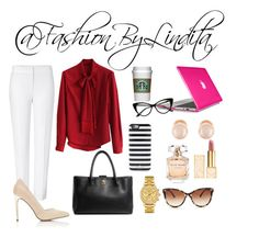 office look by leidylindita on Polyvore featuring polyvore fashion style Chicwish ESCADA Miss Selfridge Chanel Speck Kenneth Jay Lane Lacoste Kate Spade STELLA McCARTNEY Tory Burch Elie Saab clothing