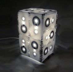 Table lamp made from tape cassettes.