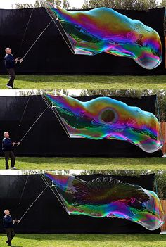 How to blow giant soap bubbles!