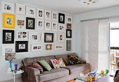 Galeria com várias ideias de parede com quadros...