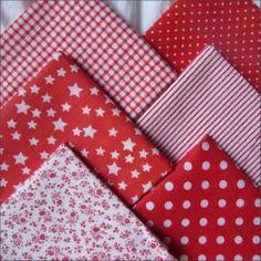 Набор тканей из 6 лоскутов, 100% хлопок, красный
