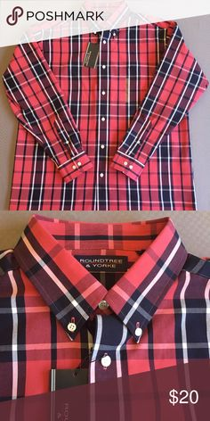 Roundtree and Yorke casual button down shirt Size Large...brand new with  tags 2760f7a74