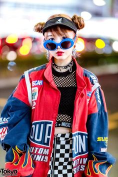 Harajuku Girl w/ Double Bun Hairstyle, WC Checkered Skirt, Yosuke Platforms, UNIF Rainbow Backpack & Kangol, Visor Tokyo Fashion, Japan Street Fashion, Harajuku Fashion, Asian Street Style, Tokyo Street Style, Looks Street Style, Korean Street, London Street, Look Fashion