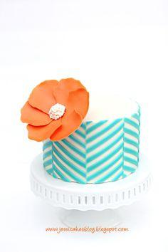 How cute is this pattern wedding cake? Love it! aqua + orange. #perfectpalette