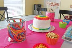 "If you saw my post here , you know that Miss J wanted an ""Art Party"" with a ruffly rainbow cake. Here are some photos from her super fun ..."