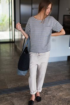 Drop Sleeve Shirt - Ocean Grey Stripe | Emerson Fry via #shoppingsmycardio