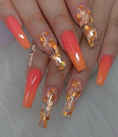 Pretty Nail Designs Ideas for This Year - Nageldesign Fall Nail Art Designs, Pretty Nail Designs, Best Nail Designs, Coffin Nail Designs, Coffin Nails Designs Summer, Orange Nail Designs, Gorgeous Nails, Pretty Nails, Milky Nails