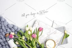 Perfect for spring, this styled Stock photo is perfect to use with your website, social media & digital marketing. PSD with Smart Object included! Styled Stock Image, Spring Tulips by Her Creative Studio on @creativemarket #styledstockphotography #styleddesktop #flatlay #Tulips