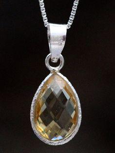 Gemstone Silver Drop Pendant - Citrine Citrine Pendant, Citrine Gemstone, Sterling Silver Chains, Chakra, Beautiful Things, Drop, Pendant Necklace, Gemstones, Handmade Gifts