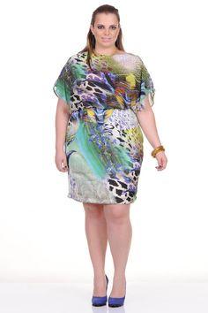 Moda feminina plus size   86884 Vestido estampado fundo do mar