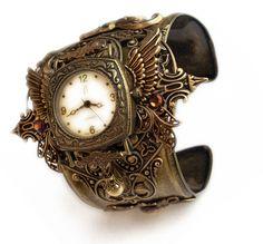 Steampunk Watch Cuff - Floral by Aranwen.deviantart.com on @deviantART