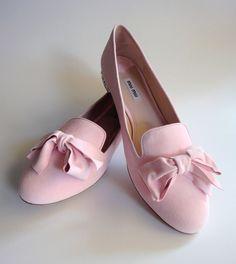 new $595 MIU MIU PRADA Pink Suede Velour Leather Flat Slip-on Loafer EU 41 NIB !