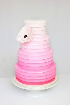 pink ombre bands wedding cake - A little too pink, I prefer a softer color