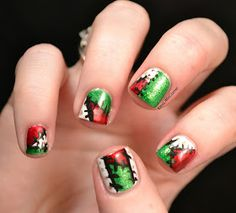 Nail art for nubs, patchwork elf costumes | See more at http://www.nailsss.com/colorful-nail-designs/2/